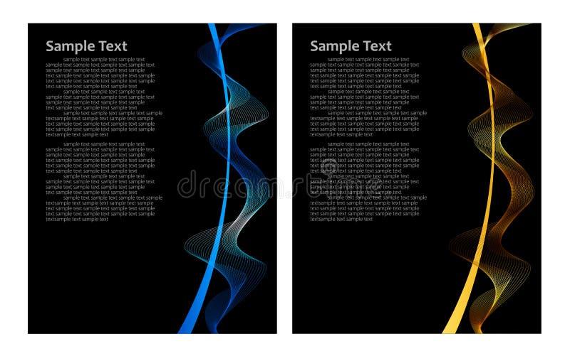 Blauwe en gouden abstracte achtergrond stock illustratie