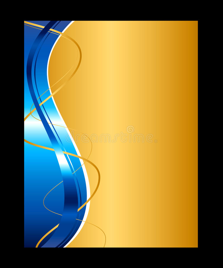 Blauwe en gouden abstracte achtergrond vector illustratie