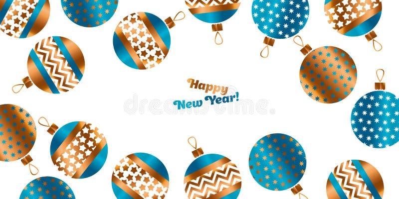 Blauwe en gouden Kerstmissnuisterij stock illustratie