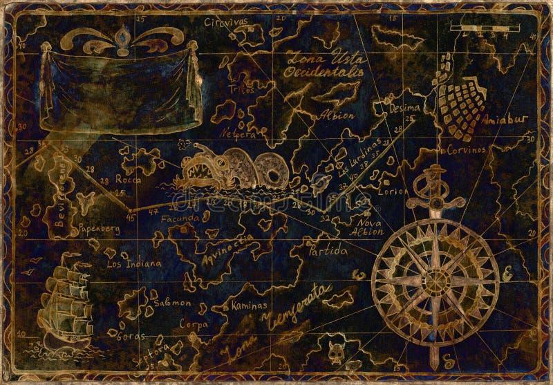Blauwe en gouden piraatkaart royalty-vrije illustratie