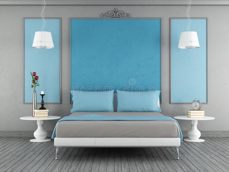 Blauwe en grijze slaapkamer stock illustratie illustratie
