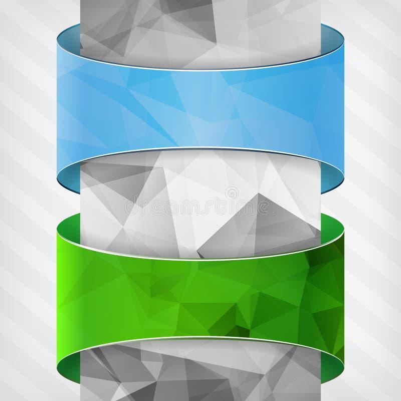 blauwe en groene etiketten met driehoekskolom stock illustratie