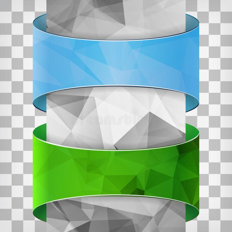 Blauwe en groene etiketten met driehoekskolom op geregeld backgr royalty-vrije illustratie