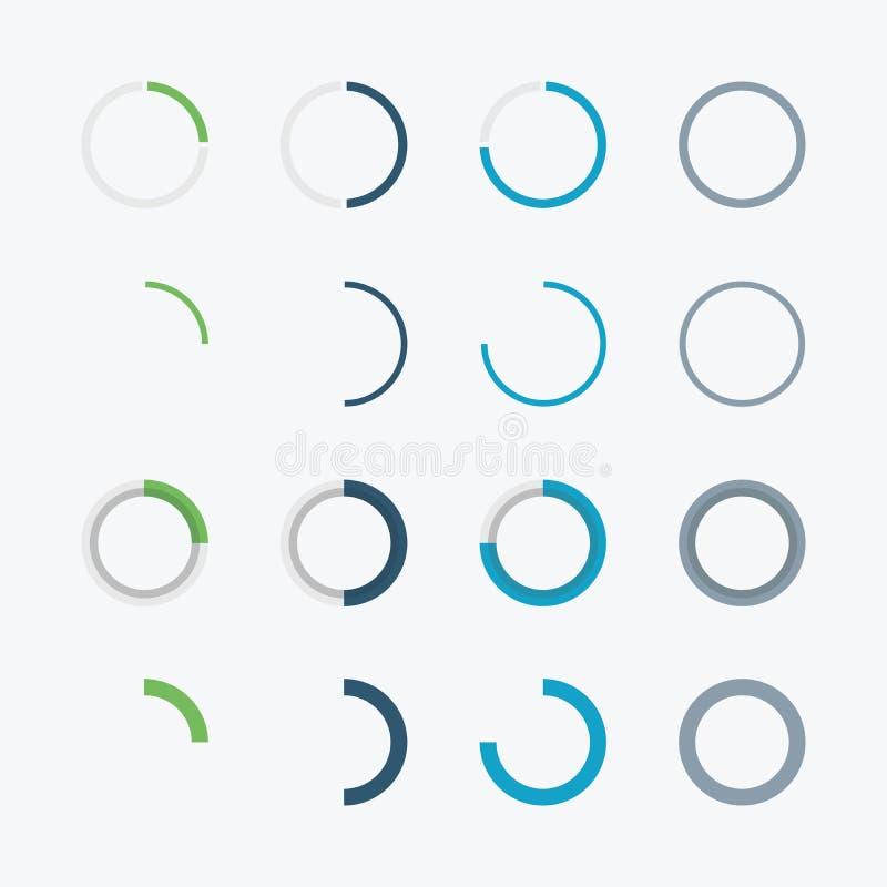 Blauwe en groene infographic zakenkringsgrafiek D stock illustratie