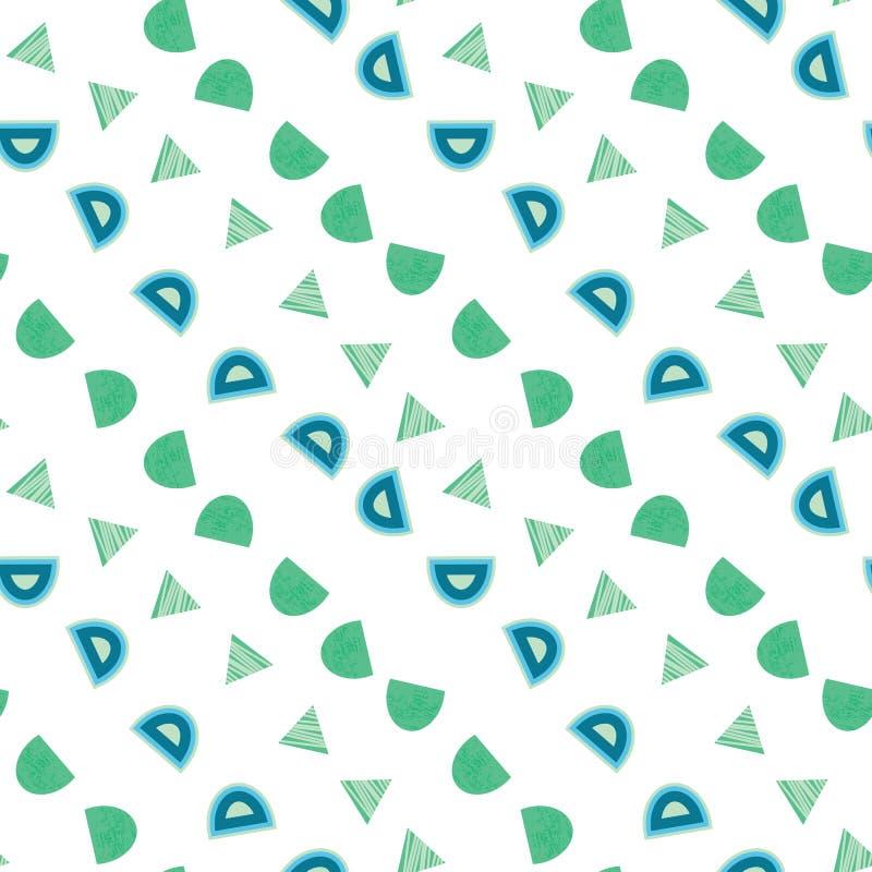 Blauwe en groene organische cirkelvormen en driehoeken op wit naadloos patroon als achtergrond stock illustratie