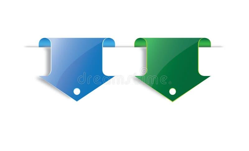Blauwe en groene pijlreferentie royalty-vrije illustratie
