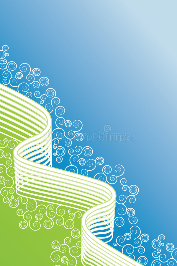 Blauwe en groene spiralen gevoerde kunstachtergrond vector illustratie