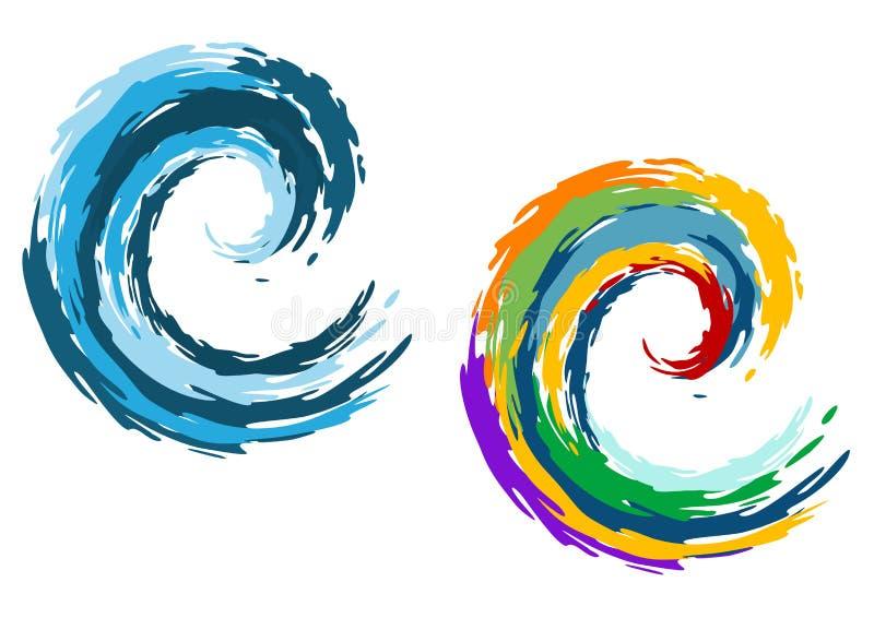 Blauwe en kleurrijke oceaangolven stock illustratie