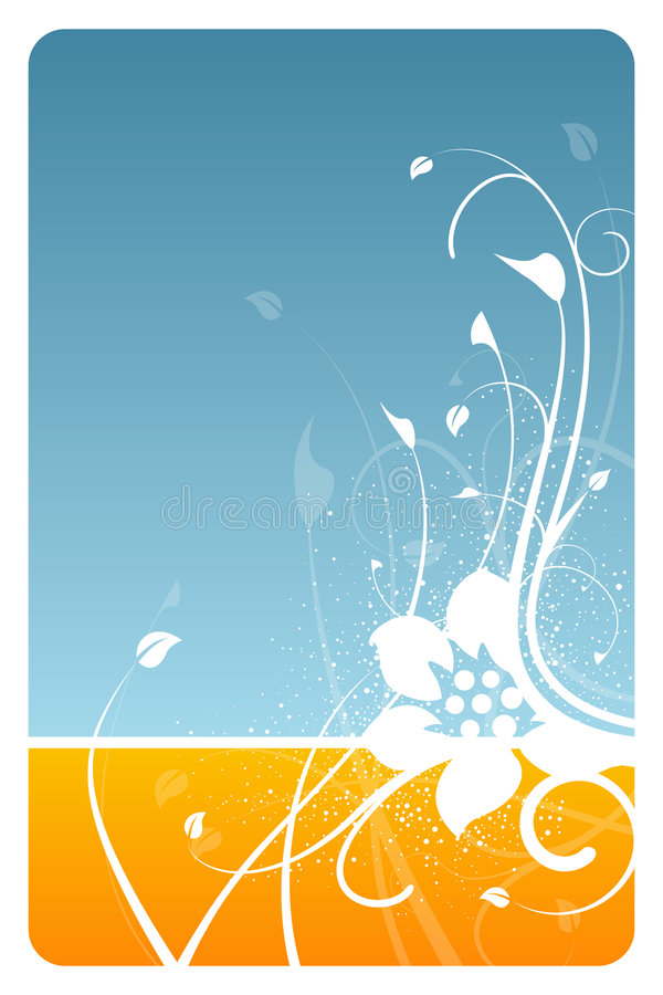 Blauwe en oranje bloemenkaart vector illustratie