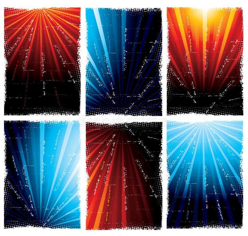 Blauwe en oranje lichte uitbarstingen stock illustratie