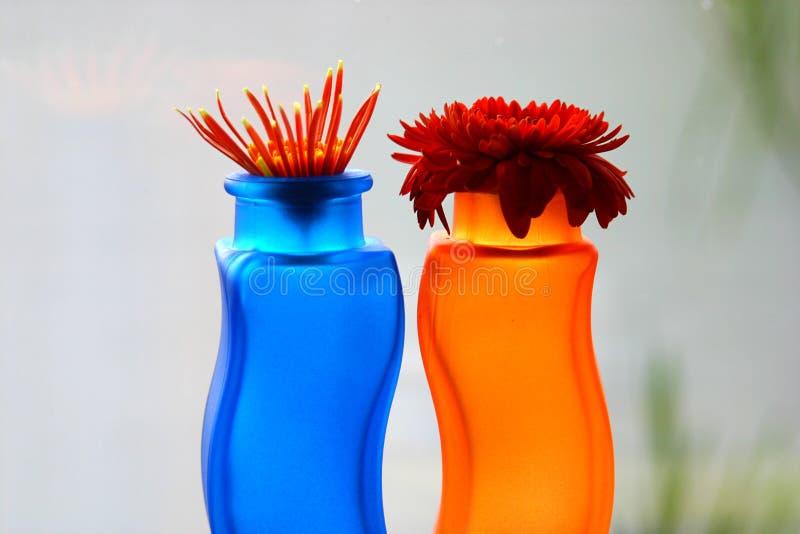 Blauwe en oranje vazen met bloemen stock fotografie