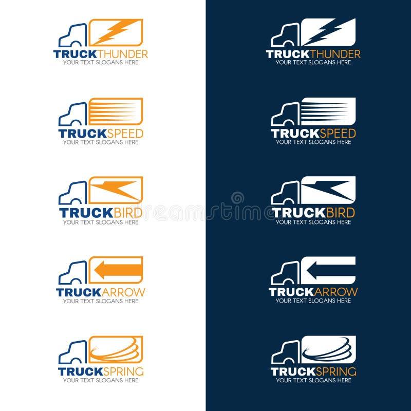 Blauwe en Oranje Vrachtwagen het verschepen embleemvector stock illustratie
