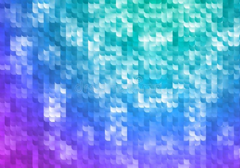 Blauwe en Purpere Glanzende Achtergrond Vectormoza?ektextuur Abstract Geometrisch Behang met Gradiënt vector illustratie
