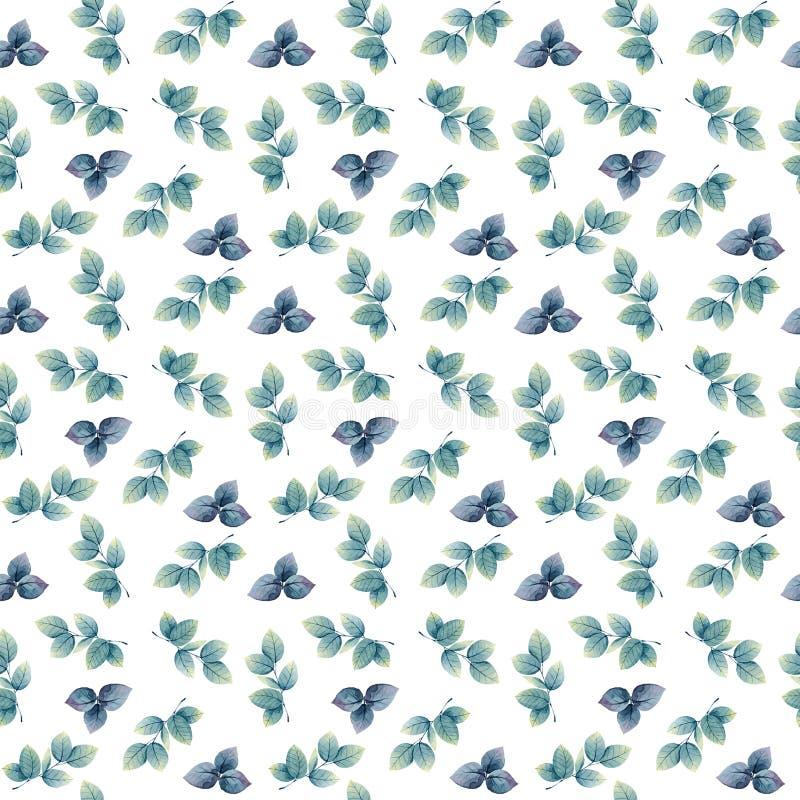 Blauwe en purpere kleine waterverfbladeren stock illustratie