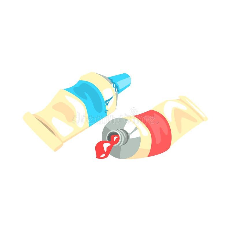 Blauwe en rode acrylverfbuizen De artistieke vectorillustratie van het materiaal kleurrijke beeldverhaal royalty-vrije illustratie