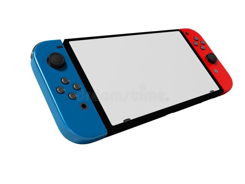 Blauwe en rode bedieningshendel draadloze gamepad voor 3d tablet geeft op witte achtergrond geen schaduw terug vector illustratie