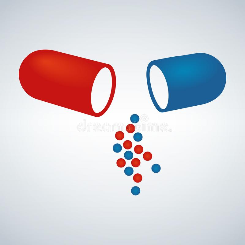 Blauwe en rode capsule, Pijnstillers, antibiotica, vitaminen, aminozuren, mineralen, bio actief additief, sportenvoeding Pictogra vector illustratie