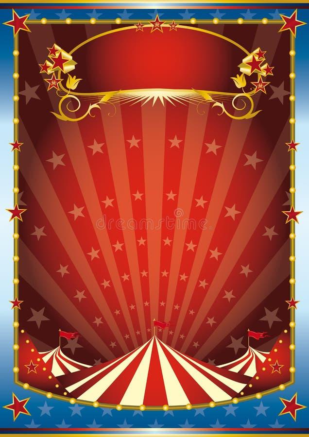 Blauwe en rode circusachtergrond vector illustratie