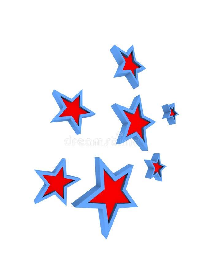 Blauwe en rode sterren vector illustratie