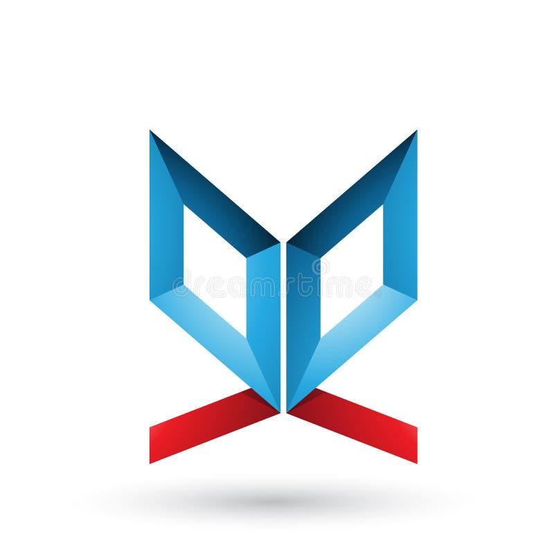 Blauwe en Rode Tweezijdige die Vlinder zoals Brief E op een Witte Achtergrond wordt geïsoleerd royalty-vrije illustratie