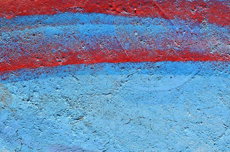 Blauwe en rode verfachtergrond stock afbeelding