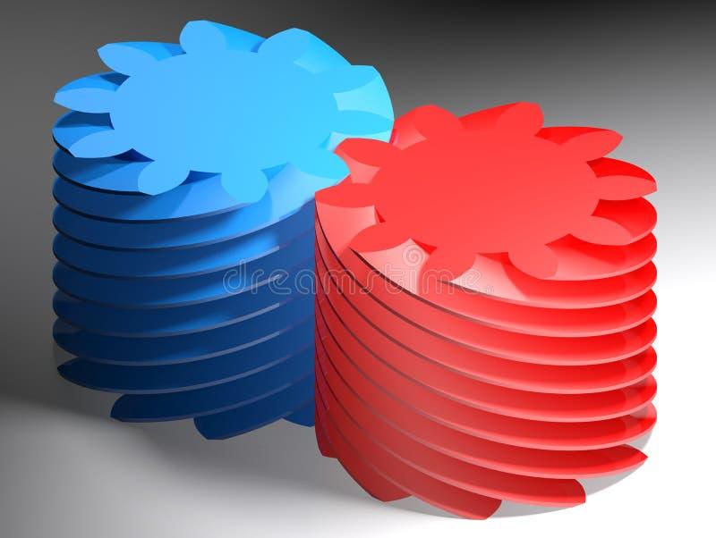 Blauwe en rode wormscrews - het 3D teruggeven royalty-vrije illustratie