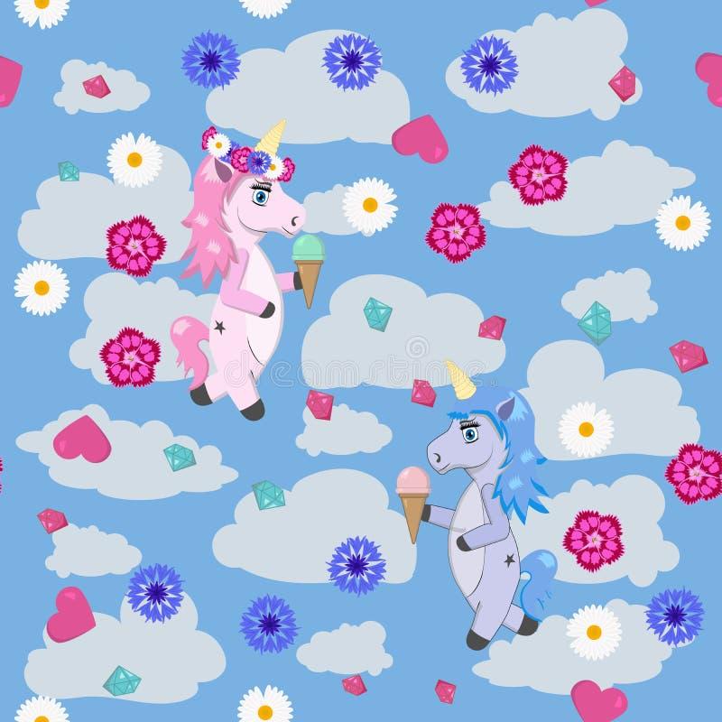 Blauwe en roze eenhoorns met roomijs in de handen tegen de hemel met wolken stock illustratie