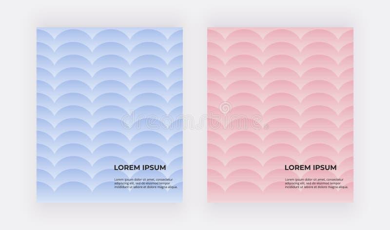 Blauwe en roze geometrische achtergronden Dekking met meerminschalen royalty-vrije illustratie