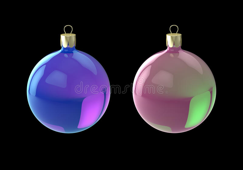 Blauwe en roze Kerstmisballen vector illustratie