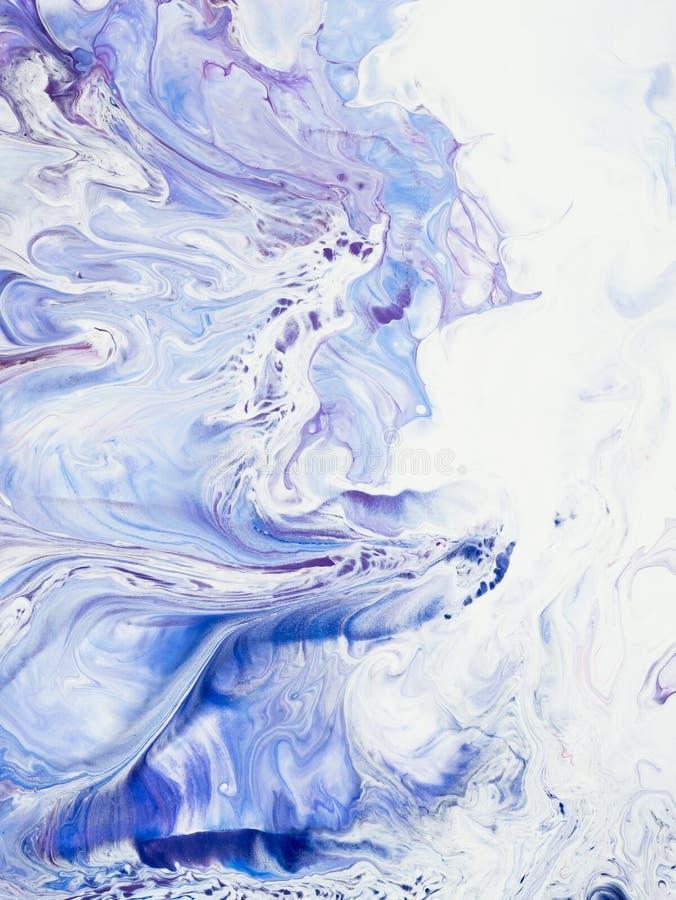 Blauwe en roze marmeren abstracte hand geschilderde achtergrond royalty-vrije stock foto's