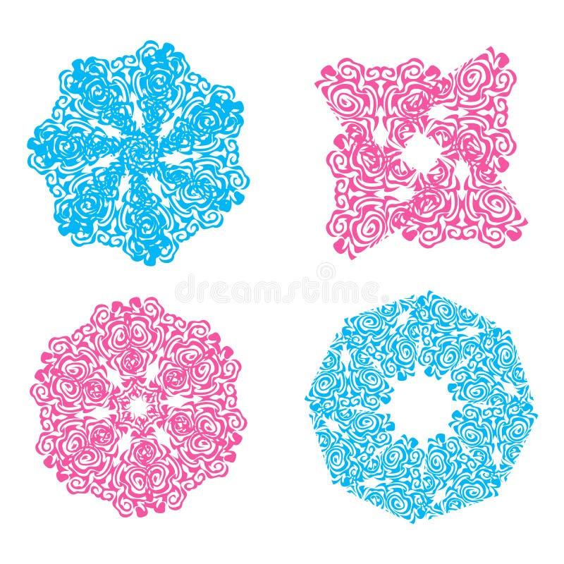 Blauwe en roze openwork sneeuwvlokken royalty-vrije illustratie