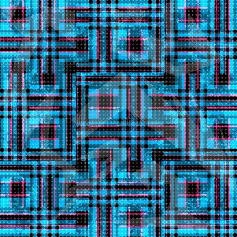 Blauwe en roze psychedelische veelhoeken en lijnen op een zwarte achtergrond grunge effect illustratie royalty-vrije illustratie