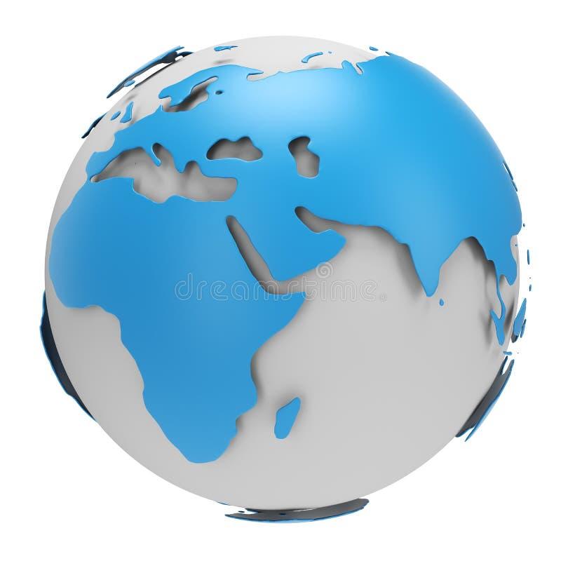 Blauwe en Witte Aardebol royalty-vrije illustratie