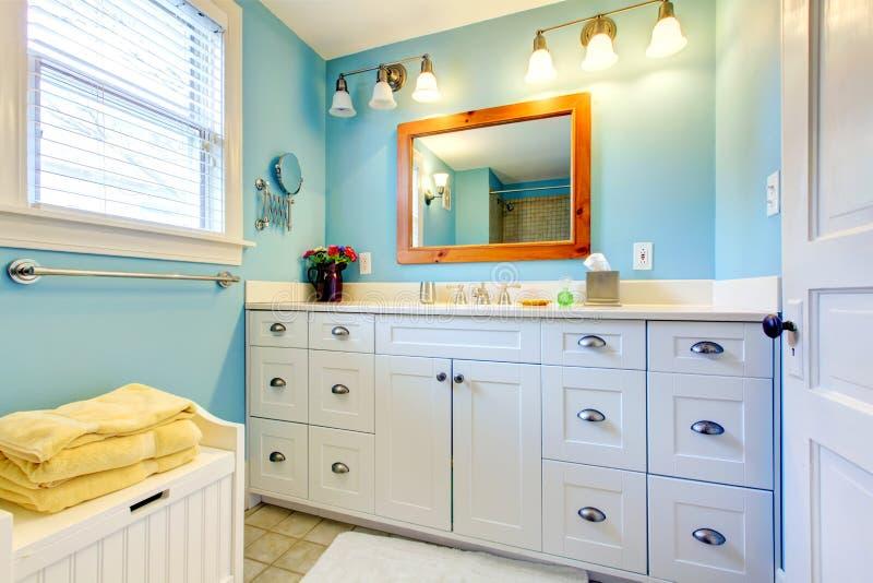 Blauwe en witte badkamers stock afbeelding