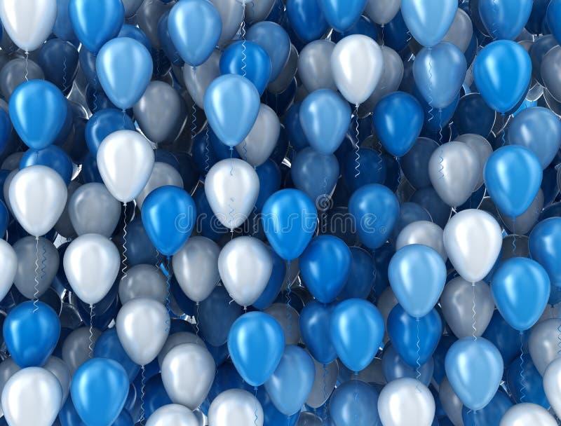 Blauwe en witte ballons royalty-vrije illustratie