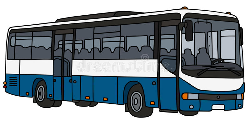Blauwe en witte bus stock illustratie
