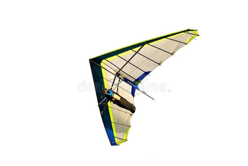 Blauwe en witte die deltavlieger tijdens de vlucht weg, op wit wordt geïsoleerd stock foto's