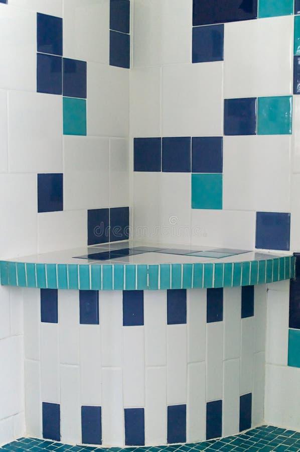 Blauwe En Witte Douchetegel Stock Foto