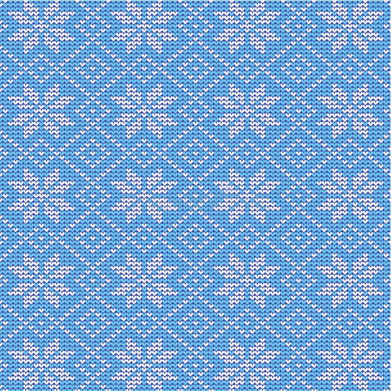 Blauwe en witte gebreide sneeuwvlokkenachtergrond royalty-vrije illustratie