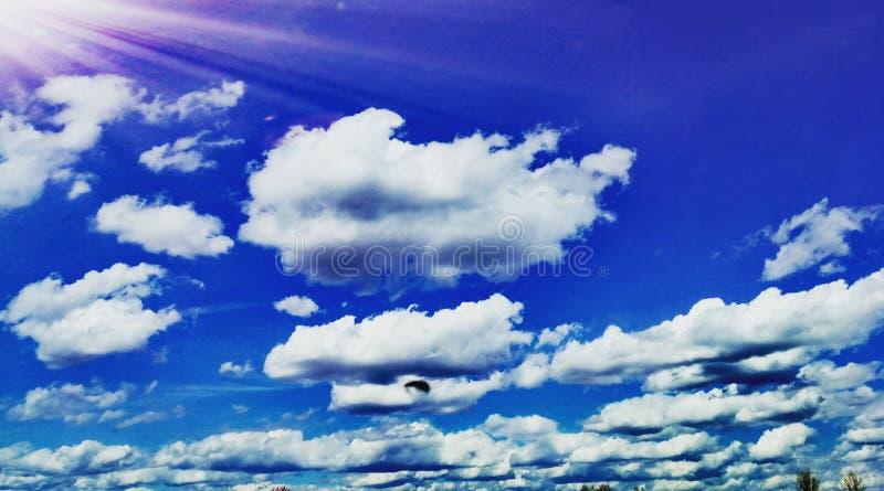 Blauwe en witte hemel stock fotografie