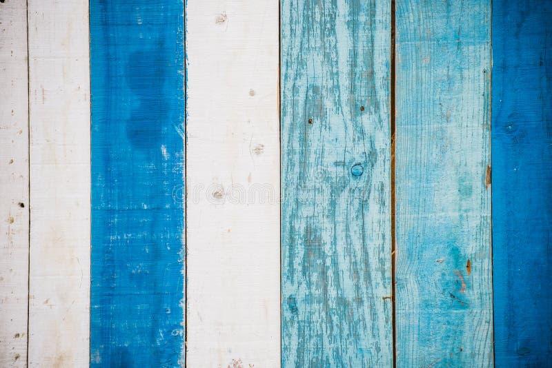 Blauwe en witte houten muur stock afbeeldingen