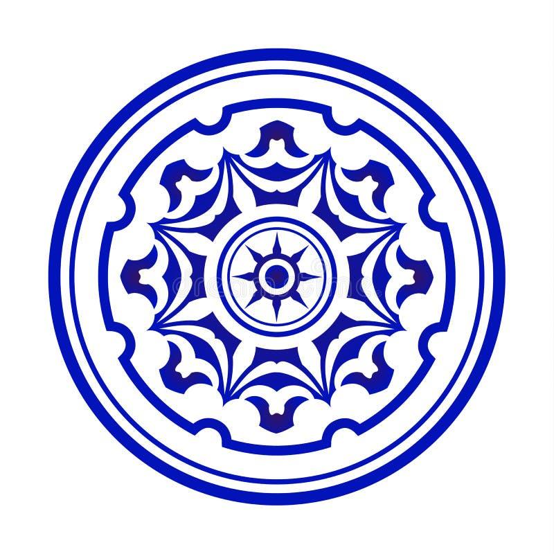Blauwe en witte mandala royalty-vrije illustratie