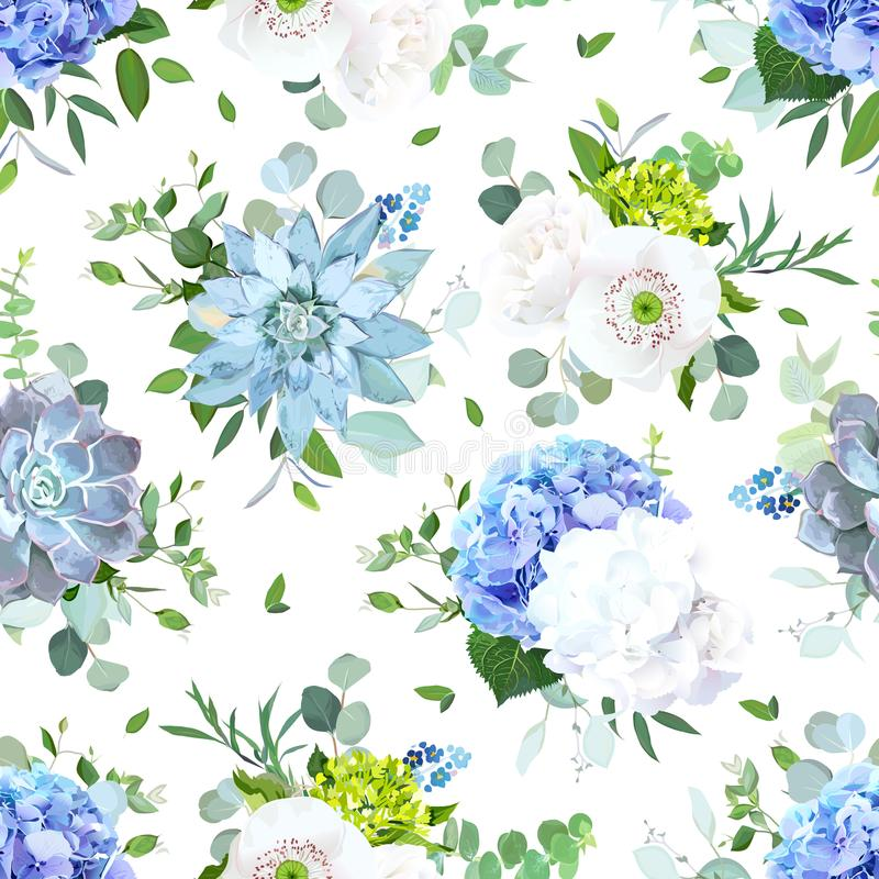 Blauwe en witte naadloze vector het ontwerpdruk van de zomerbloemen royalty-vrije illustratie
