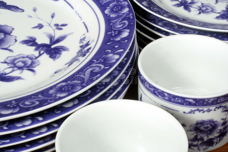 Blauwe en Witte Schotels royalty-vrije stock foto