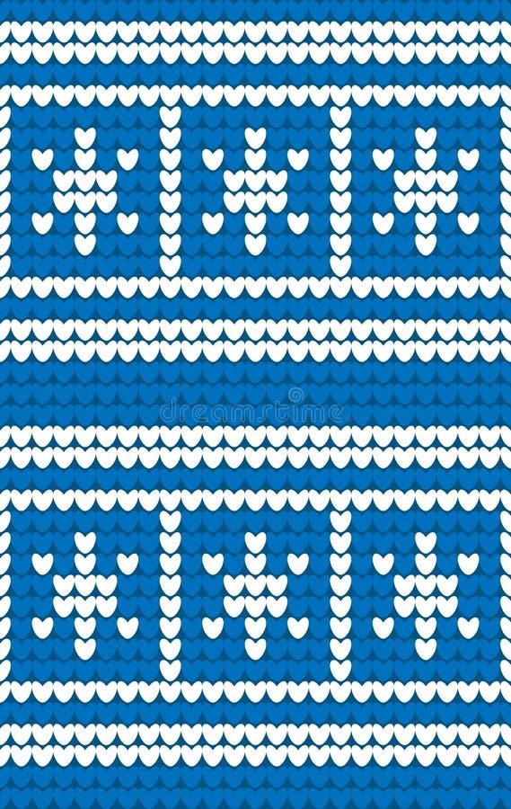 Blauwe en witte sneeuwvlokken gebreide achtergrond De winter breiend patroon Naadloze textuur stock illustratie
