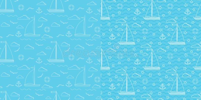 Blauwe en witte vector naadloze mariene het patroonreeks van de lijnkunst vector illustratie
