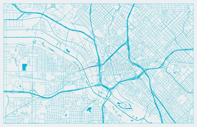 Blauwe en Witte vectorstadskaart van Dallas stock illustratie