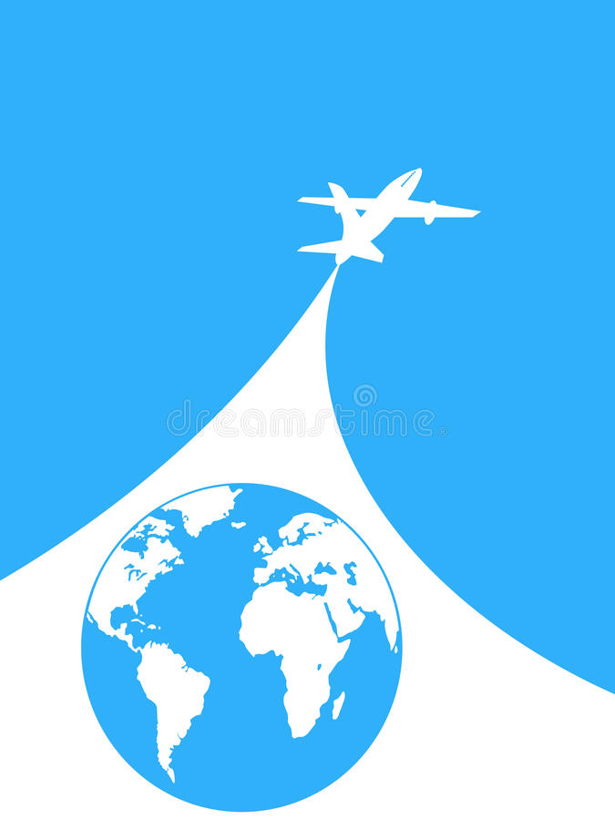 Blauwe en witte vliegtuigachtergrond stock illustratie