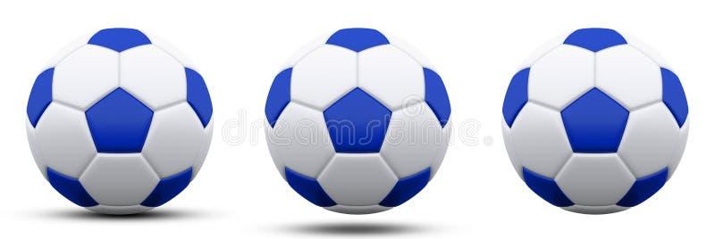 Blauwe en witte voetbalbal in drie versies, met en zonder schaduw Geïsoleerd op wit 3d geef terug stock illustratie