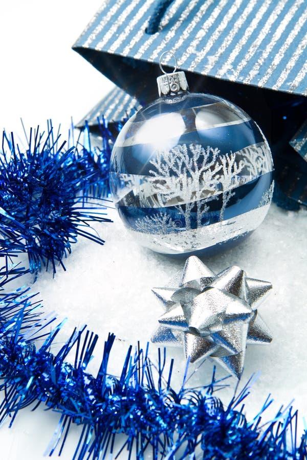 Blauwe en zilveren Kerstmisdecoratie royalty-vrije stock fotografie